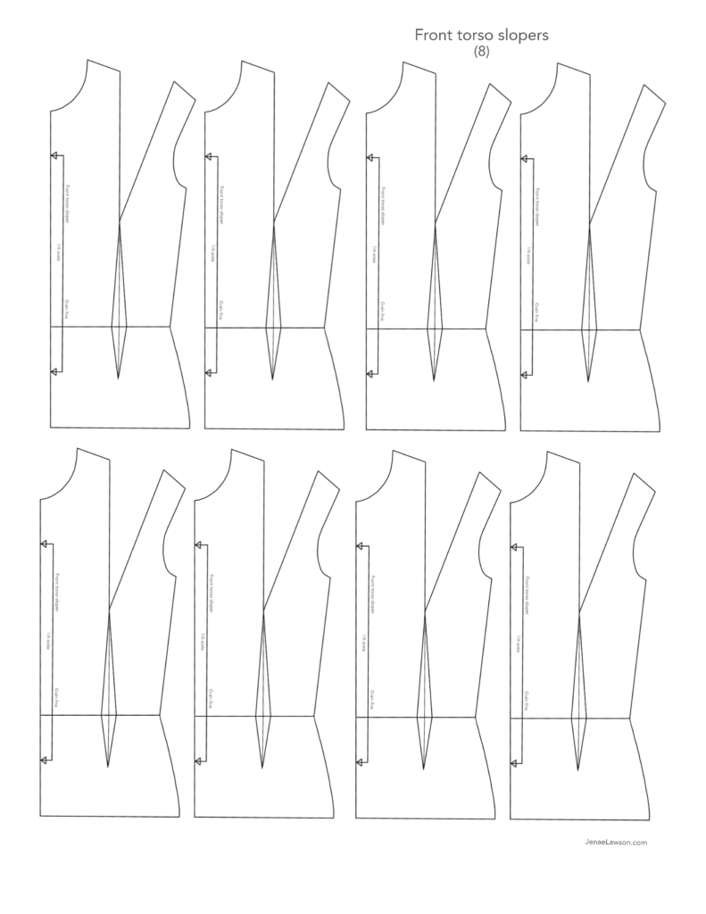 One-sixth scale front torso slopers